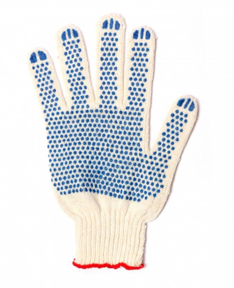 перчатки х/б 7,5 5-ти нитка 10 класс с ПВХ